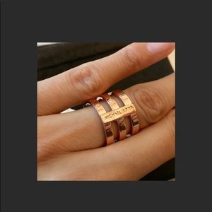 Michael Kors Rose Gold Triple Bar Ring Size 7